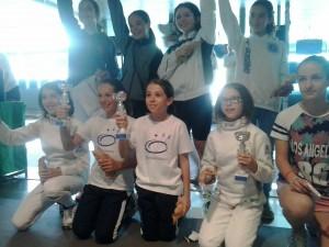 Le finaliste della gara di fioretto femminile bambine/giovanissime