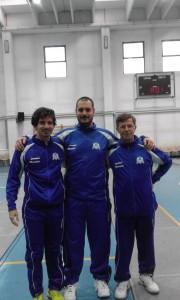 La nostra squadra di spada maschile. Da sinistra: Marco Vinchesi, Ambrogio Pigoli, Enrico Rovere